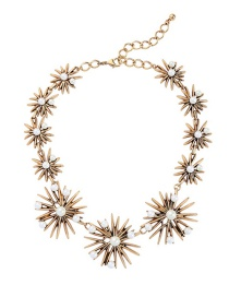 Fashion Gold Flower Pearl Necklace
