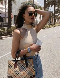 Fashion Apricot One-sided Off-shoulder Sleeveless Knit Top