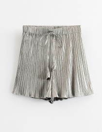 Fashion Silver Wooden Ear Pleated Wide-leg Shorts