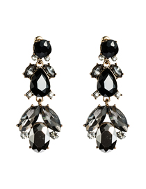 Fashion Black Multi-layer Acrylic Diamond Earrings