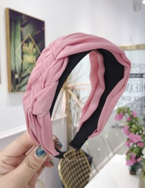 Fashion Pink Cloth Handmade Twist Side Knotted Wide-brimmed Headband