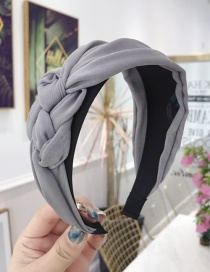 Fashion Light Grey Cloth Handmade Twist Side Knotted Wide-brimmed Headband