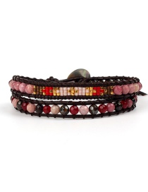 Fashion Pink Bead Woven Antique Jewel Stone Double-layer Bracelet