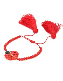 Fashion Red Insect Crystal Tassel Bracelet
