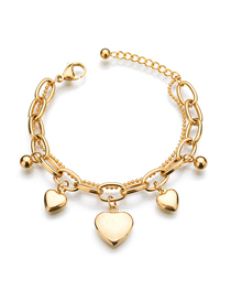 Fashion Three Peach Hearts Titanium Steel Double Bracelet