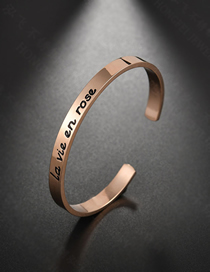 Fashion Rose Gold Letter La Vie En Rose Open Bracelet