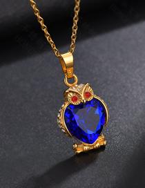 Fashion Golden Blue Diamond Diamond Zircon Owl Necklace