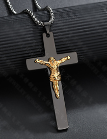 Fashion Black Jesus Cross Necklace