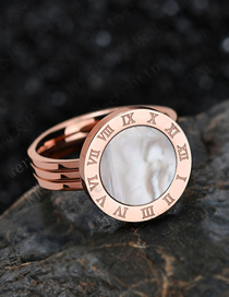 Fashion Rose Gold Shell 18k Rose Gold Shell Roman Numeral Ring
