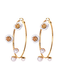 Fashion Gold Alloy Pearl Flower Circle Earrings