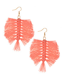 Fashion Pink Alloy Wire Tassel Earrings