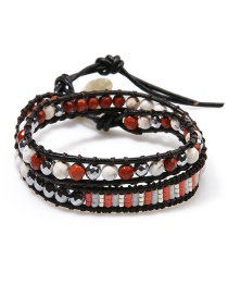 Fashion Red + Gray Crystal Double Woven Bracelet