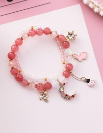 Fashion Dark Powder Cartoon Rabbit Ladybug Crystal Agate Stone Double Beaded Bracelet