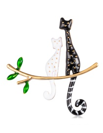 Fashion Color Alloy Dripping Cat Brooch
