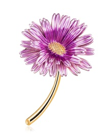 Fashion Purple Alloy Drip Flower Brooch