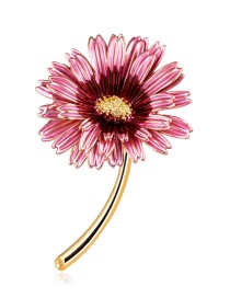 Fashion Pink Alloy Drip Flower Brooch