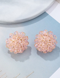 Fashion Pink Transparent Crystal Woven Flower Earrings