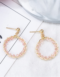 Fashion Round Pink Geometric Crystal Horned Stud Earrings