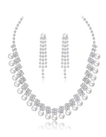 Fashion Silver Copper And Diamond Pearl Necklace Set