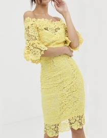 Fashion Yellow One-shoulder Lace Dress