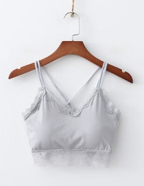 Fashion Gray Lace Wrapped Chest Vest