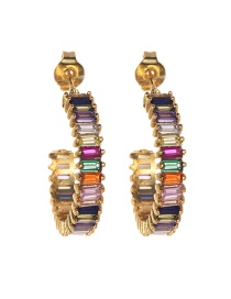 Fashion Gold Copper Inlaid Zircon Earrings