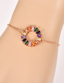 Fashion Rose Gold Copper Inlaid Zircon Ring Bracelet