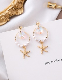 Fashion Gold 925 Silver Needle Crystal Pearl Ring Starfish Earrings