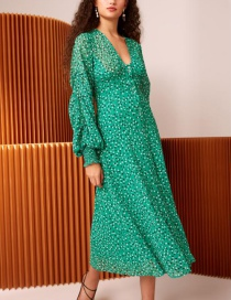 Fashion Green Front Buttoned Puff Sleeve V-neck Dress