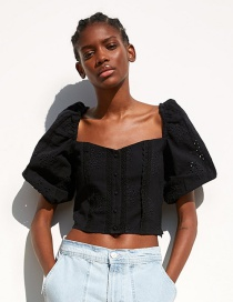 Fashion Black Embroidered Top