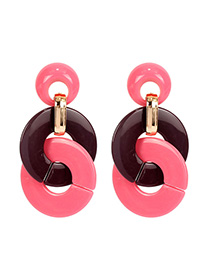 Fashion Pink Ring-and-loop Earrings