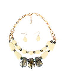 Fashion Creamy-white Cloud Beads Acrylic Double Layer Necklace