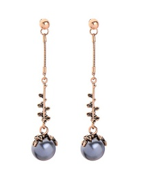 Fashion Bronze Long Leaf Pearl Stud Earrings