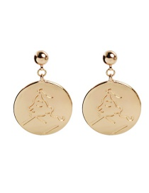 Fashion Gold Geometric Round Face Embossed Earrings