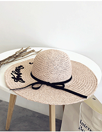 Fashion Pink Daxie Embroidered Straw Hat