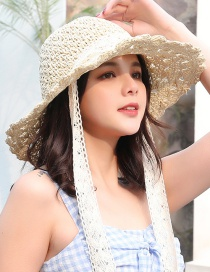 Fashion Beige Ribbon With Large Straw Hat