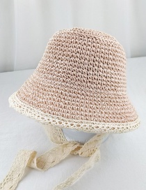 Fashion Pink Straw Lace Lace Visor