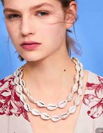Fashion Gray Resin Rope Shell Necklace