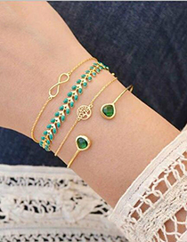Fashion Gold Emerald Leaves Knotted 8 Word Bracelet 4 Piece Set