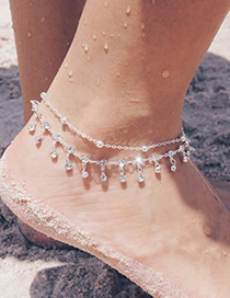 Fashion Silver Six-pointed Star Water Droplets Double-layer Alloy Anklet
