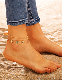 Fashion Gold Polygonal Winding Portrait Wafer Alloy Anklet