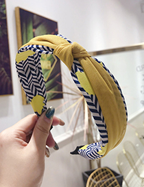 Fashion Yellow Striped Floral Contrast Mesh With Knotted Fine-brimmed Headband