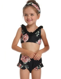 Fashion Children's Black Piece Print Parent-child One-piece Swimsuit