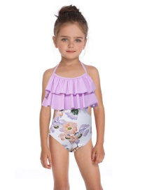 Fashion Children Blue Printed Conjoined Double Ruffled Parent-child Swimsuit