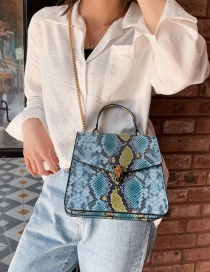 Fashion Blue Crossbody Single Shoulder Stitching Snake Tote
