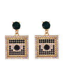 Fashion Green Alloy Studded Square Earrings