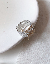 Fashion Silver Openwork Lace-up Lace Opening Ring