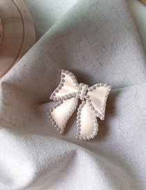 Fashion Bow Metal Bow Imitation Pearl Flower Brooch