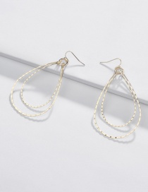 Fashion Gold Copper And Linen Wreath Double-layer Drop Earrings
