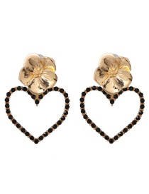 Fashion Black Alloy Flower Love Heart Shaped Pearl Earrings